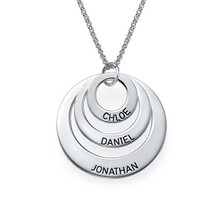 Personalized Mother Daughter Necklace Solid Silver Stack Disc Engraved Name Fashion Jewelry Custom Gift(China)