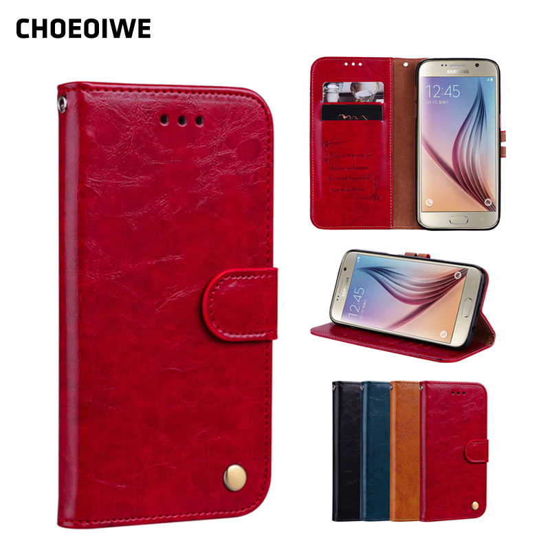 CHOEOIWE Phone Cases for <font><b>Samsung</b></font> Galaxy S6 G9200 <font><b>G920</b></font> G920F <font><b>SM</b></font>-<font><b>G920</b></font> Case Flip Leather + Silicone Wallet Business Vintage Cover image