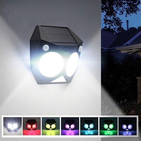 ousam conduziu a luz solar ao ar livre sensor de movimento rgb lampada dupla pir