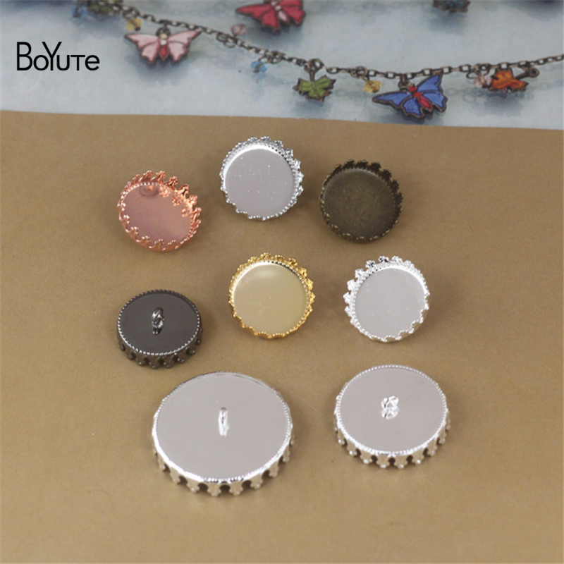 BoYuTe 30Pcs Round 12MM 15MM 20MM 25MM Cabochon Base Setting Blank Button Tray Metal Copper Diy Jewerly Accessories Parts