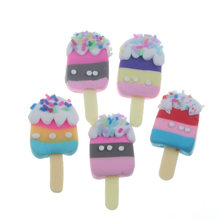 10pcs 35x17mm Cute Clay Ice Gream Decoration Crafts Flatback Cabochon Embellishments For Scrapbooking Accessories