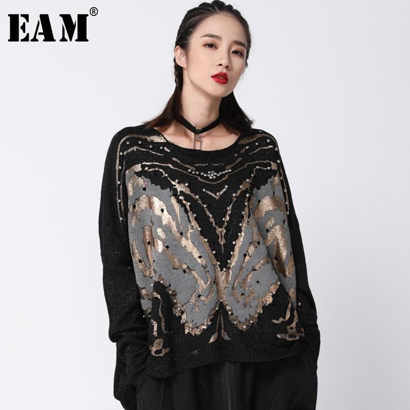 [EAM] 2019 New Spring High Collar Long Puff Sleeve Black Organza Split Joint Irregular Knitting Sweater Women Fashion Tide JL828