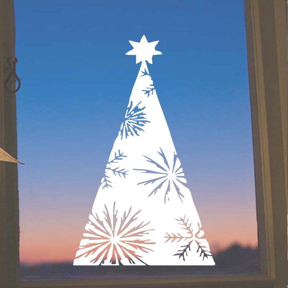 Christmas Tree Wall Stickers Shop Window Glass Decorative Stickers In The New Year ...