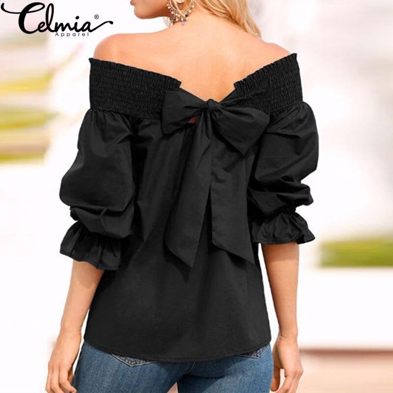 2017 CELMIA Nuevas Mujeres Del Hombro Sexy Blusa Casual Camisas Summer 3/4 flare
