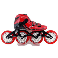 Speed Inline kating City vulcan speed skating shoes Red color inline skate shoes with Tanwan Track skating wheels Q7 frame