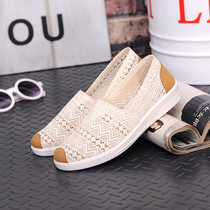 Free Shipping Women Casual Shoes Spring Summer Hollow Lace Flat Shoes Breathable Soft Women Shoes HSE12 (9)