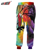 UJWI Winter Man New Red Parrot Trousers 3D Printed Large Size 5XL Habiliment Mens Autumn Loose Sweatpants