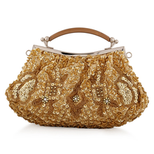 Bamboo Charm Fashion Beading Sequins Evening Handbag For Women Ladies Soft Clutch Pouch Metal Chain Shoulder Crossbody Flap Bag
