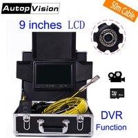 DHL Бесплатная WP90 50 м промышленной трубопроводной эндоскопа 6,5/17/23 мм Гибкая видеокамера 9 ЖК дисплей водосток канализационные трубы инспекц
