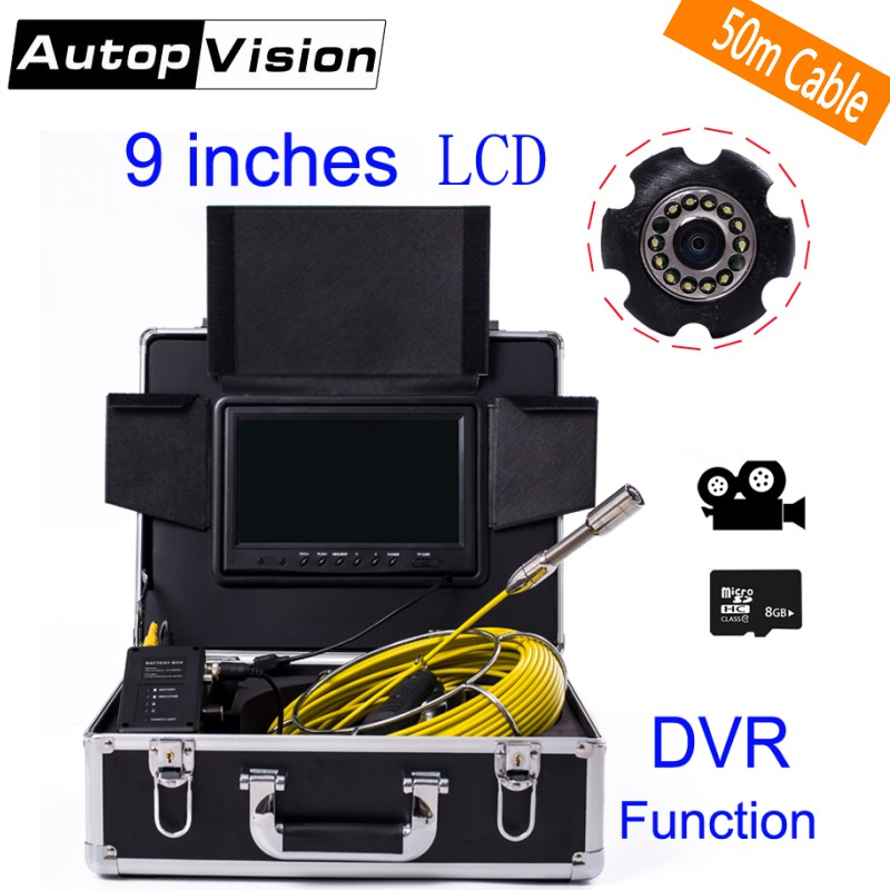 DHL Free WP90 50M Industrial Pipeline Endoscope 6.5/17/23mm Snake Video Camera 9 LCD Sewer Drain Pipe Inspection Camera System wp90 6 5 17 23mm professional industrial endoscope 9 lcd 20m cable pipeline inspection camera system sewer snake video camera