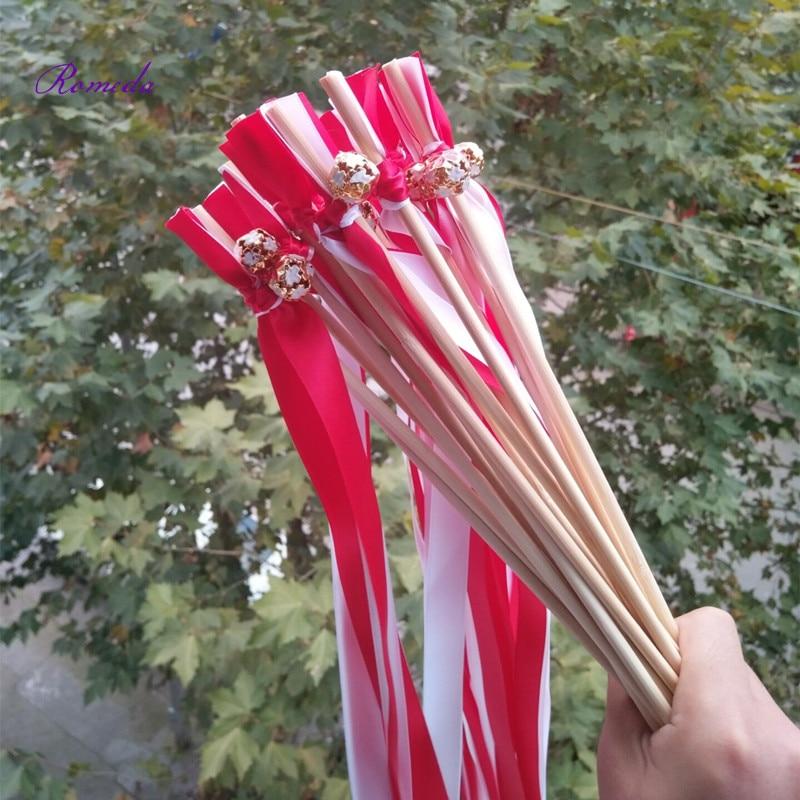 50 шт./лот красочным колокол красные и белые свадебные ленты stick бенгальские огни Фея волшебные палочки для Свадебные украшения