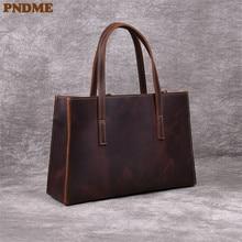 PNDME retro handmade genuine leather ladies tote bag cowhide simple large-capacity handbag fashion womens messenger