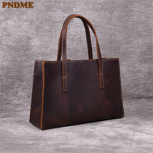 цена на PNDME retro handmade genuine leather ladies tote bag cowhide leather simple large-capacity handbag fashion women's messenger bag