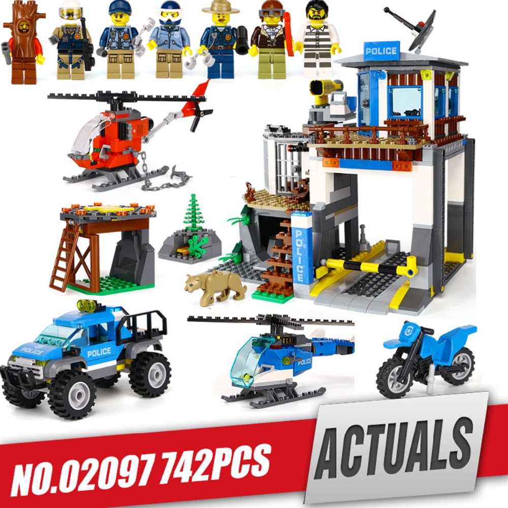 Lepin 02097 City Series The Mountain Police Headquater Set legoing 60174 Building Blocks Bricks Toys Model For Kids As Gifts kaygoo building blocks aircraft airplane ship bus tank police city military carrier 8 in 1 model kids toys best kids xmas gifts