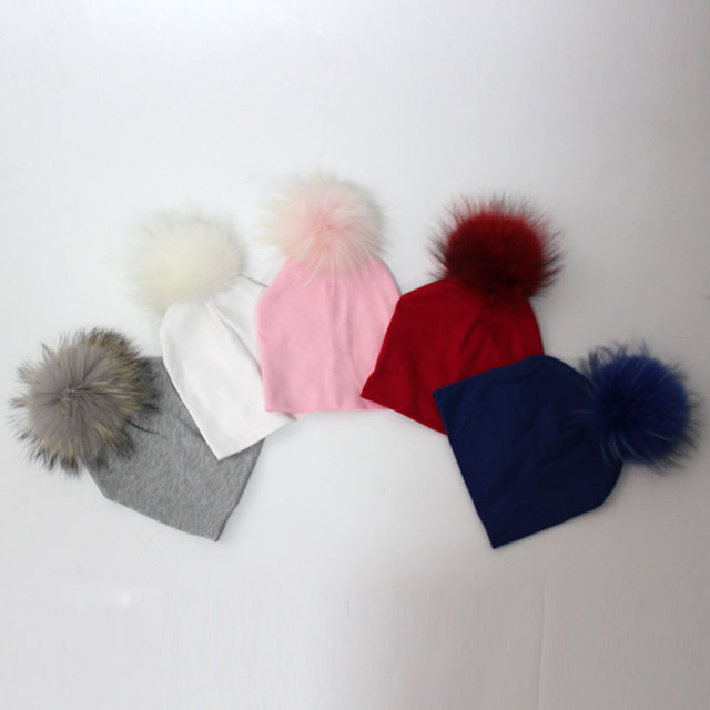 3acfddf74e0 6-24months Baby Cotton Beanies with Real Fur Pompom 5 Colors Slouchy Kids  Hat for Boys and Girls