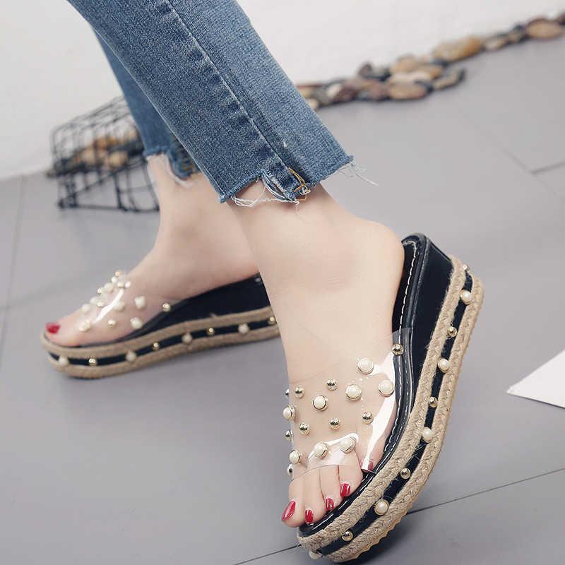 סופר גבוהה עקבים נשים קיץ נעלי פנינה שקוף פלטפורמת סנדלי מסמרת סרוג טריזי Sandalias mujer שקופיות החדש C0924