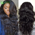 Глубокий Пробор 13x6 Бразильский Фронта Шнурка Хвостик Парики Человеческих Волос свободные Волны Glueless Фронта Шнурка Человеческих Волос Парики Для Черного женщины