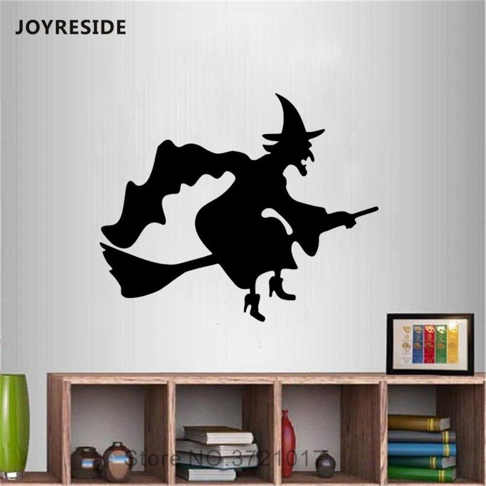 Joyrest-autocollant Mural de sorcière volante   Autocollant en vinyle, balai de sorcière volante fantôme, chambre à coucher, salon, décoration intérieure, Mural A1503