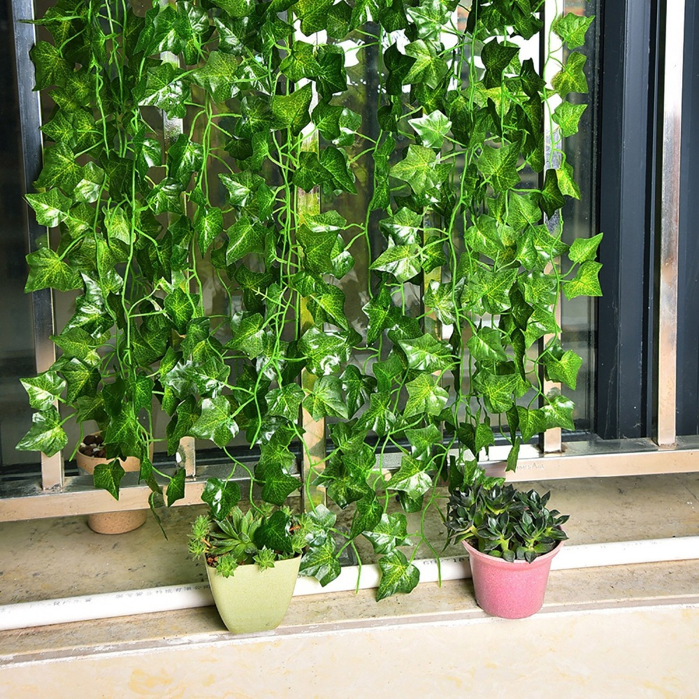 artificial fake hanging plant leaves garland home garden wall