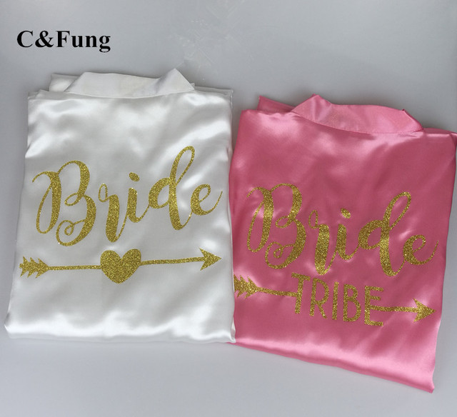 C Fung new Personalized Bridal Party Robes bride tribe arrow design  bridesmaid soft satin shower bath gift Wedding Robe S-XXL c915c6722