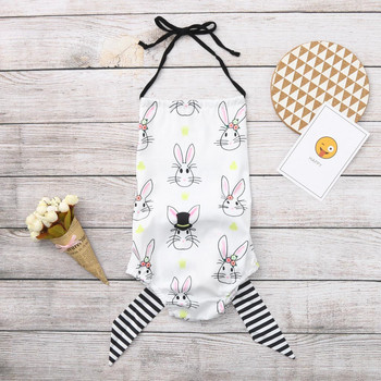 2019 Fashion Cute Newborn Kid Girl Easter Bunny Backless Bowknot Romper Clothes Erkek Bebek Tulum Easter Baby Kid Clothes