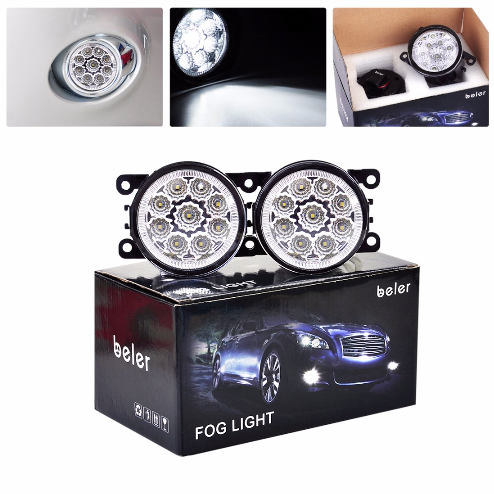 beler Pair Car Styling 9 LED Front Right + Left Fog Lamp DRL Daytime Running Driving Lights For Subaru Outback 2010 2011 2012 led front fog lights for honda cr v pilot 2012 2013 2014 car styling round bumper drl daytime running driving fog lamps