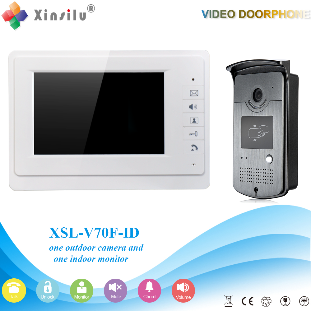 XSL-V70F-ID Free Shipping Handfree Video Door Phone Intercom System With Night Vision And Unlocking By ID Card Reader xsl v70f id free shipping hot sale handfree video door phone intercom system with night vision and unlocking by id card reader
