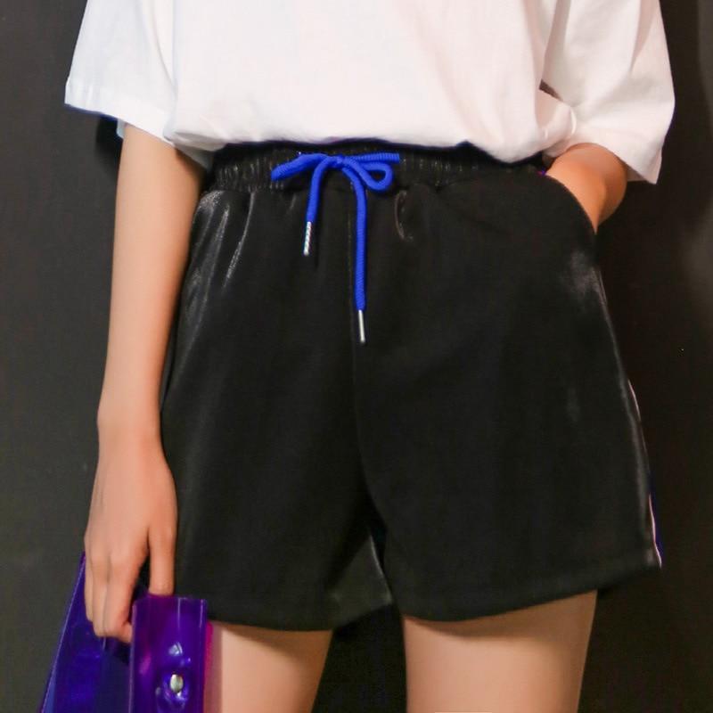 Women's Short Korean Punk Harajuku Ulzzang Elastic Waist  Summer New Loose Wide-leg Students Shorts Female Cute Japan Kawaii