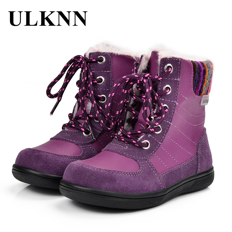 ULKNN Kids Boots Girls Winter Boots Snow Children Keep Warm Pink Plush Genuine Leather Candy Color Fabric Felt botas Lace Up