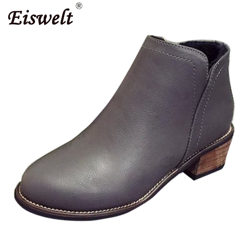 EISWELT Women Boots Big Size Leather Boot Women's Ankle Boots Fashion Slip-on Heel Shoes Winter Boots Female Plush #ZQS078 eiswelt women boots 2017 fashion buckle ankle boots slip on shoes female autumn cotton boots heels shoes flock zqs247