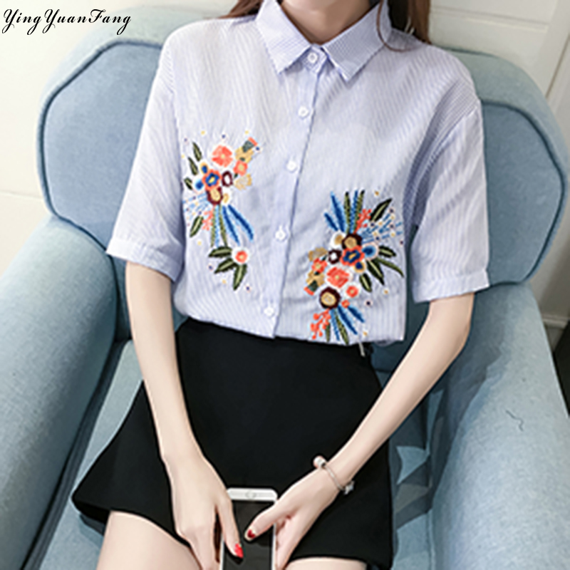 YingYuanFang Fashion women's new stripes irregular embroidery five-point sleeves collar shirt