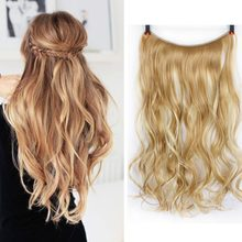 "AOSIWIG Hair Extensions Flip in Curly Wavy Hair Extension Synthetic Women Hairpieces 20"" Halo Synthetic Hair Extension(China)"