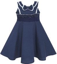 Sunny Fashion Robe Fille Arc Attacher Cœur Imprimer Sans manches Bleu