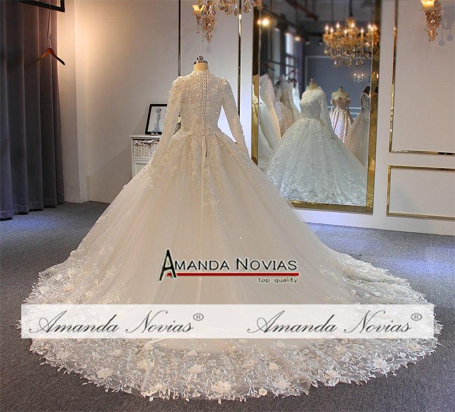 Image 4 - wedding gowns 2019 muslim wedding dress with flowers full lace bridal dressWedding Dresses