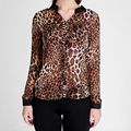 Women Chiffon Blouse Shirt High Street Sexy Leopard Print Semi-sheer Long Sleeve Loose Casual Top blusas femininas 3XL plus