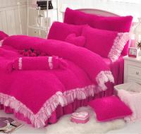 Princess Style Super Warm and Soft Winter Thickening Mink Cashmere Bedding sets with Rose laceEdge 3/4pcs Goatswool Bed Skirts
