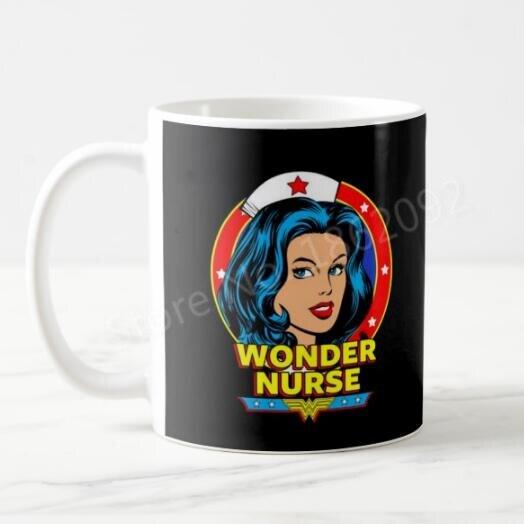 Funny Novelty Wonder Nurse Coffee Mugs Tea Cups For Nurses Coworker Gifts Modern Creative Hero Birthday 11OZ