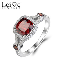 Leige Jewelry Sterling Silver 925 Garnet Ring Natural Red Gemstone Engagement Rings For Women Cushion Cut
