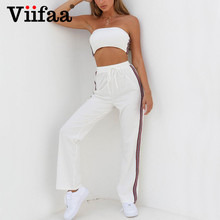 Viifaa White Two Piece Set Crop Top and Pants Casual Tracksuit Women 2018 Off Shoulder 2