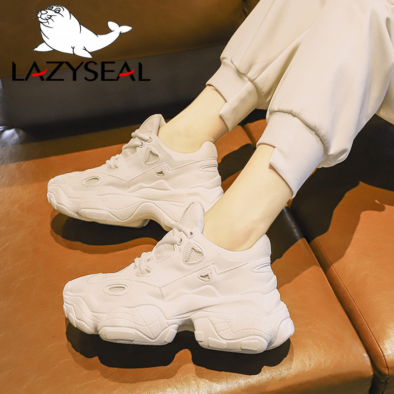 Lazyseal Shoes Sneakers Heel Ankle-Boots Chunky Women Mesh for New White Breathable Increasing