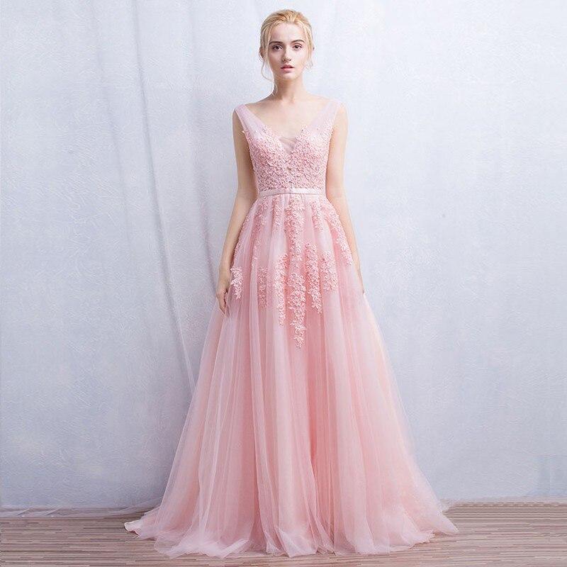Hermosa rosa pálido vestidos de noche sin espalda vestido de ...