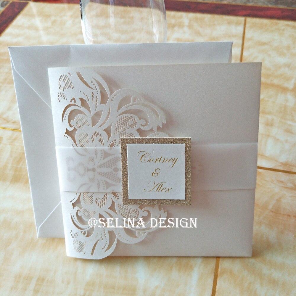 Luxury Pocketfold Wedding Invitations: Luxury Ivory Pearl Laser Cut Pocket Wedding Invitation