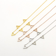 New hollow triangle stitching necklace popular girl wild stainless steel clavicle chain CN01