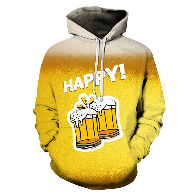 2019 3D hoodie sweatshirt men's beer 3d-printed casual fashion street top pullover spring sport suit Asian size s-6xl