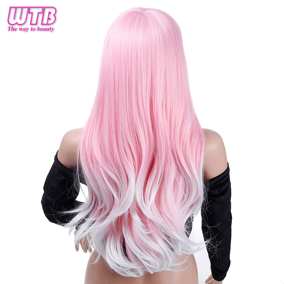 WTB Synthetic Long Wavy Pink Wigs for African American Heat Resistance Fiber Cosplay Wigs with Free Wig Cap in Synthetic None Lace Wigs from Hair Extensions Wigs