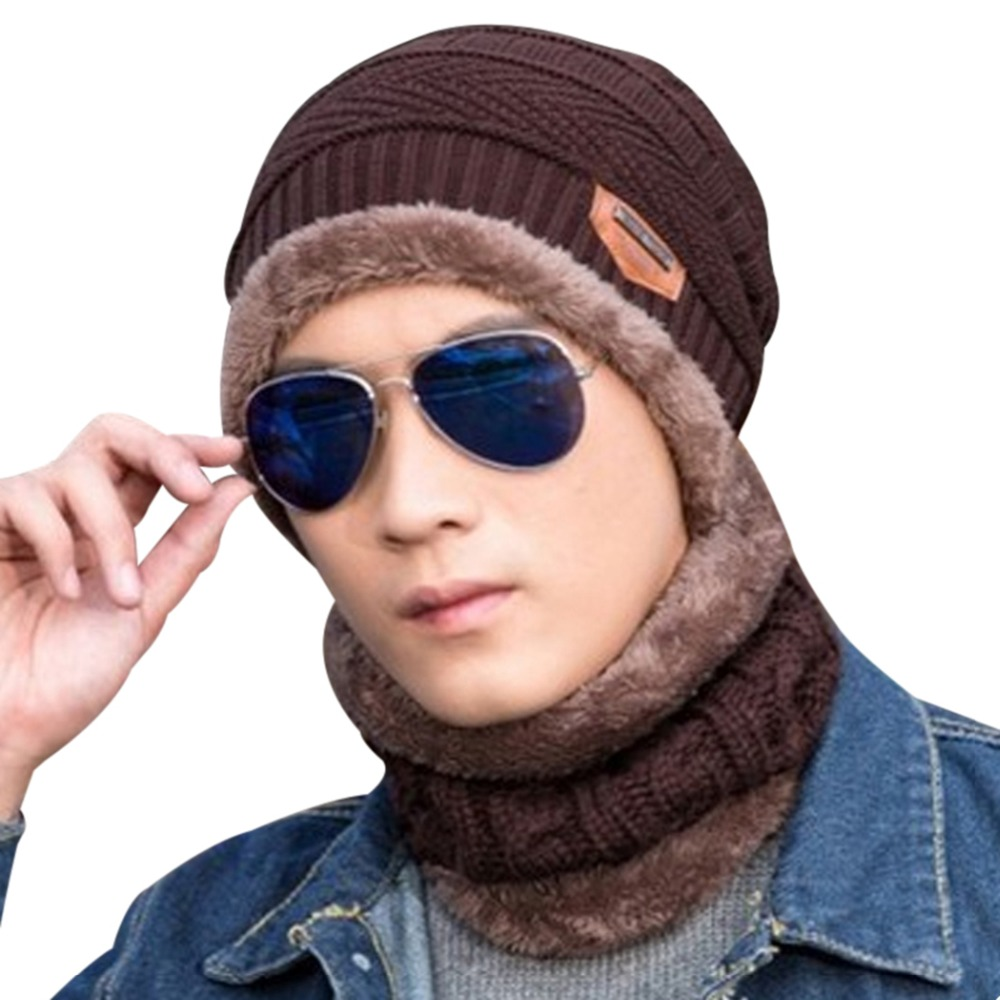 Winter Wool Lining Thick Warm Knitted Hat Scarf Caps Beanie For Women Men Unisex Crochet Fleece Skullies Baggy Bonnet Muts 2017 winter women beanie skullies men hiphop hats knitted hat baggy crochet cap bonnets femme en laine homme gorros de lana