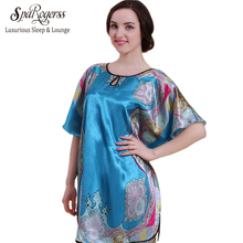 Original Women Nightgown Big Size Summer Fashion 2017 Top Faux Silk Ladies Sleep Lounge Bath Robe Satin Bathrobe Sleepshirt YT60