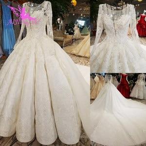Image 1 - AIJINGYU ウェディングドレスメイドサテン新しいドレストルコ卸売工場デザイナーガウン 2 ピースのウェディングドレス