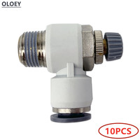10PCS SL Pneumatic Throttle Valve Quick Air Fitting Connector Push In Tube4 6 8 10 12mm Flow Controller 1/81/43/81/2BSP Male