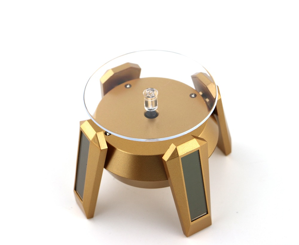 Solar Powered Turn Table Rotary Display LED Light watch cell tray cartoon figure car product desktop tray furniture accessories(China)